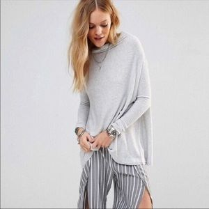 FP We The Free Gray Lover Ribbed Cowl Neck Sweater